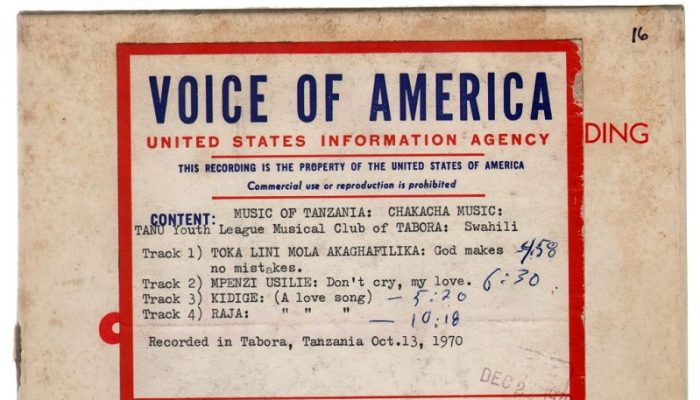 front of a tape box with VOA label