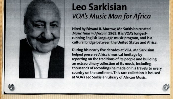 Plaque dedicating a studio to Leo Sarkisian